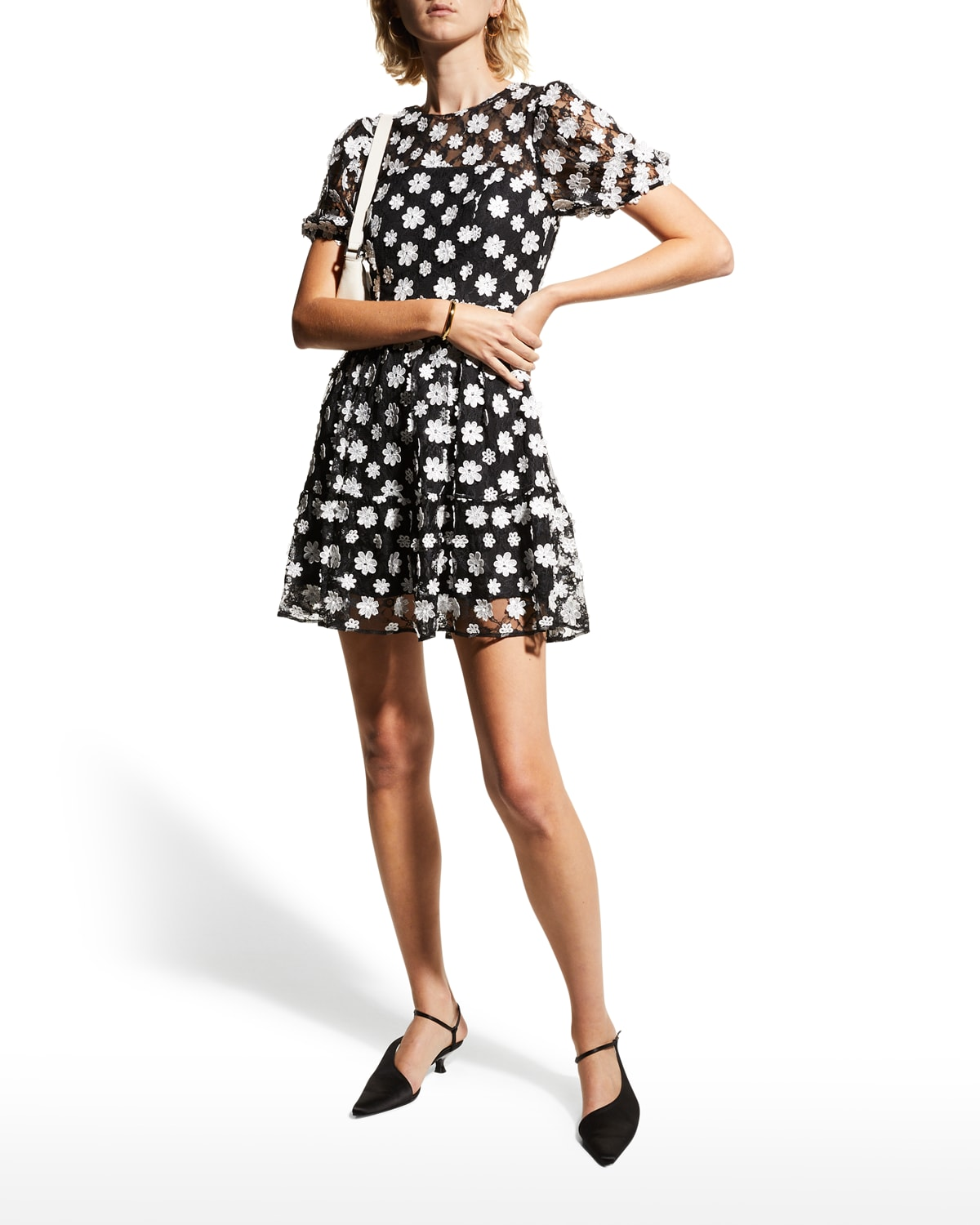 Lillianna Puff-Sleeve Floral Lace Dress
