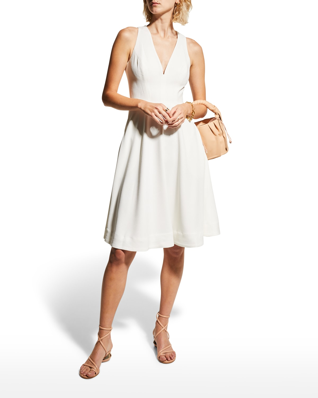 Catalina V-Neck Crepe Swing Dress