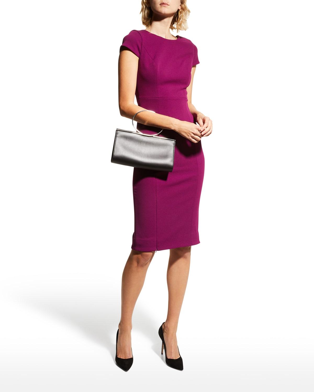 Mila Cap-Sleeve Crepe Sheath Dress