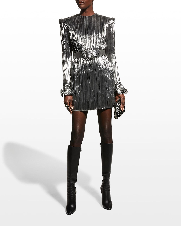 Lame Crinkle Belted Mini Dress