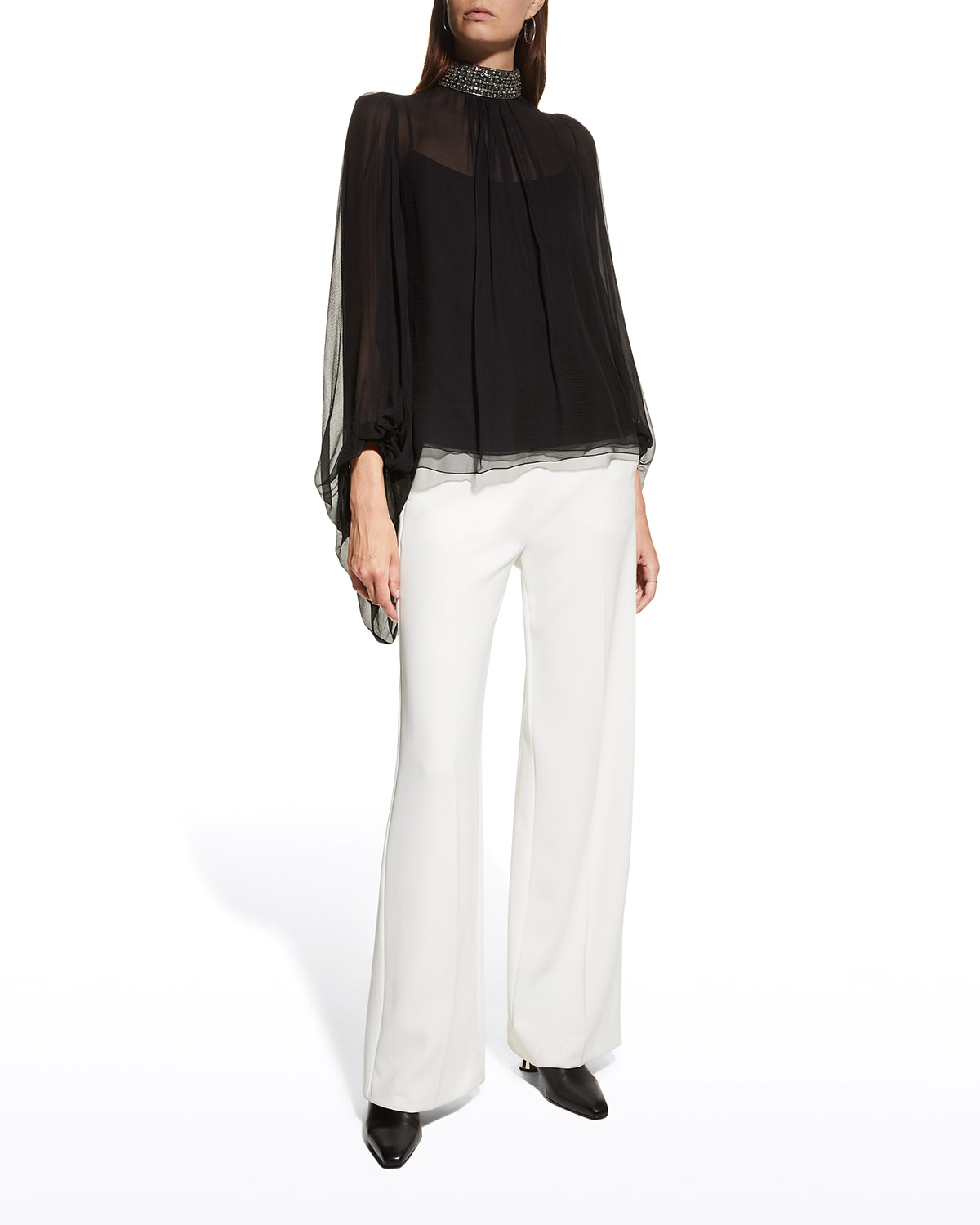 Semi-sheer Jeweled Collar Blouse w/ Exaggerate Sleeves