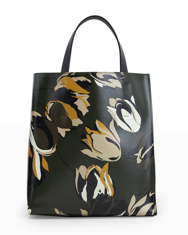 Tulip-Print Colorblock North-South Tote Bag