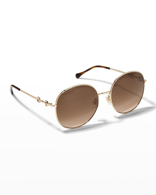 Iconic Horsebit Round Metal Sunglasses