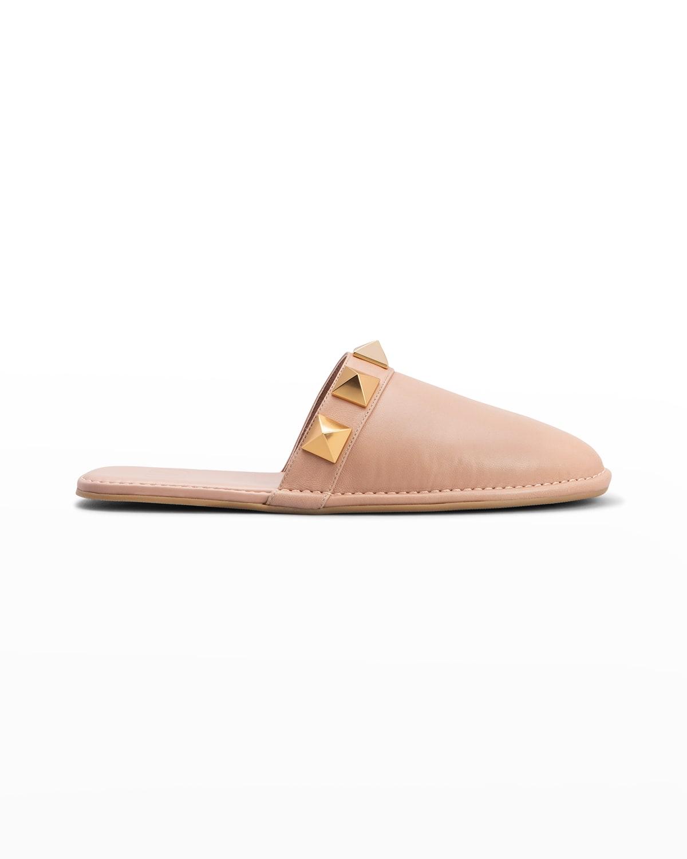 Roman Stud Leather Mule Slippers