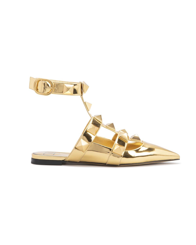 Roman Stud Metallic Ankle-Strap Ballerina Flats