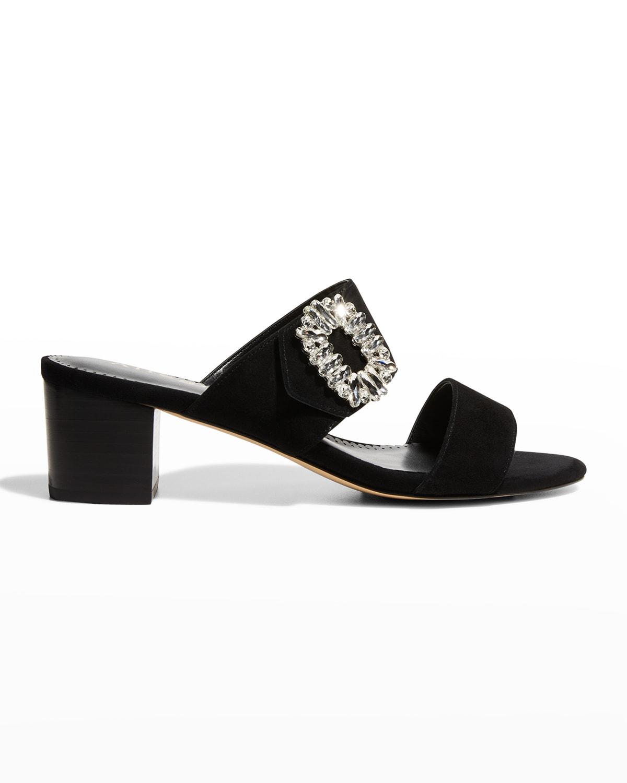 Sadie Crystal Buckle Mule Sandals