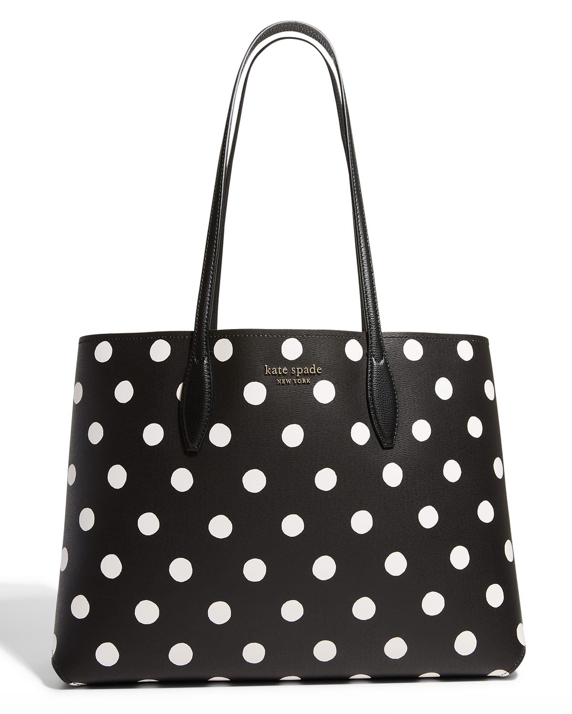 all day sunshine polka dot large tote bag