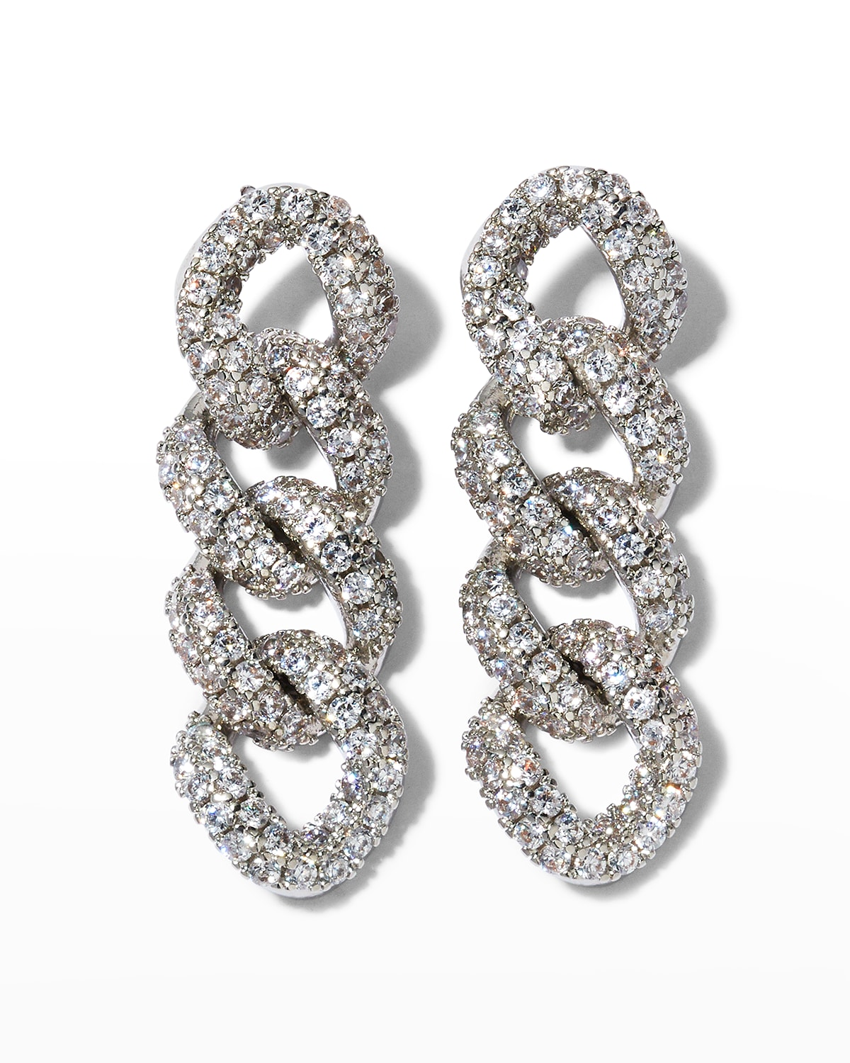 Short Amure Pave Curb Chain Earrings