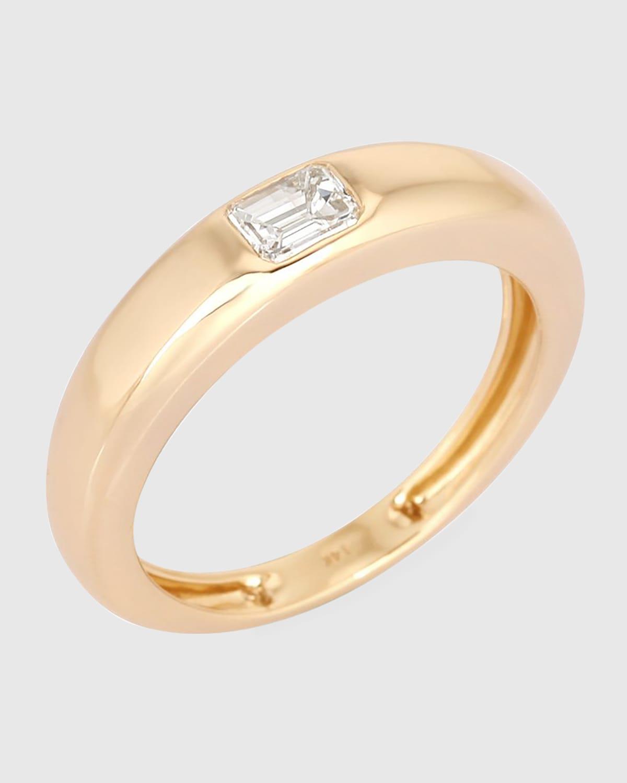 Gypsy Baguette Diamond Ring in 14k Yellow Gold