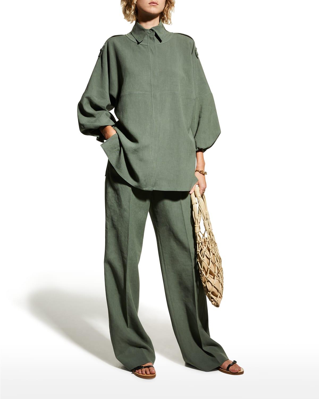 Camilla Balloon-Sleeve Linen Shirt