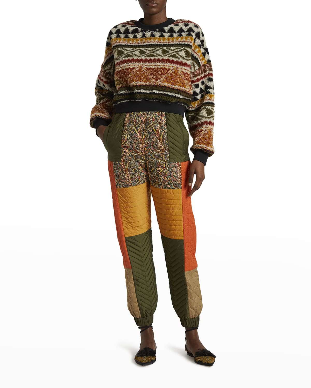 Fair Isle Cropped Fleece Sweatshirt