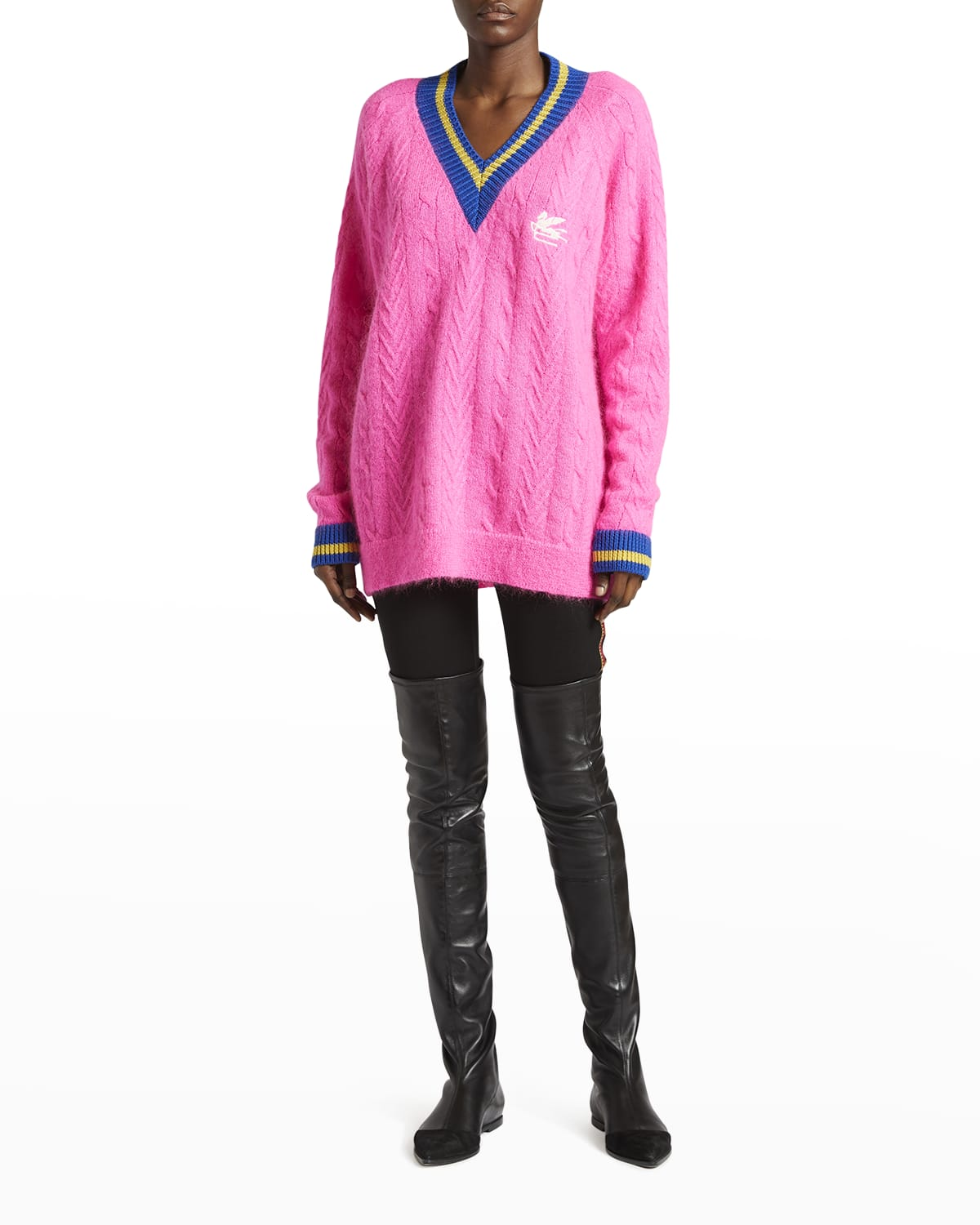 Oversized Cable-Knit Mohair Sweater