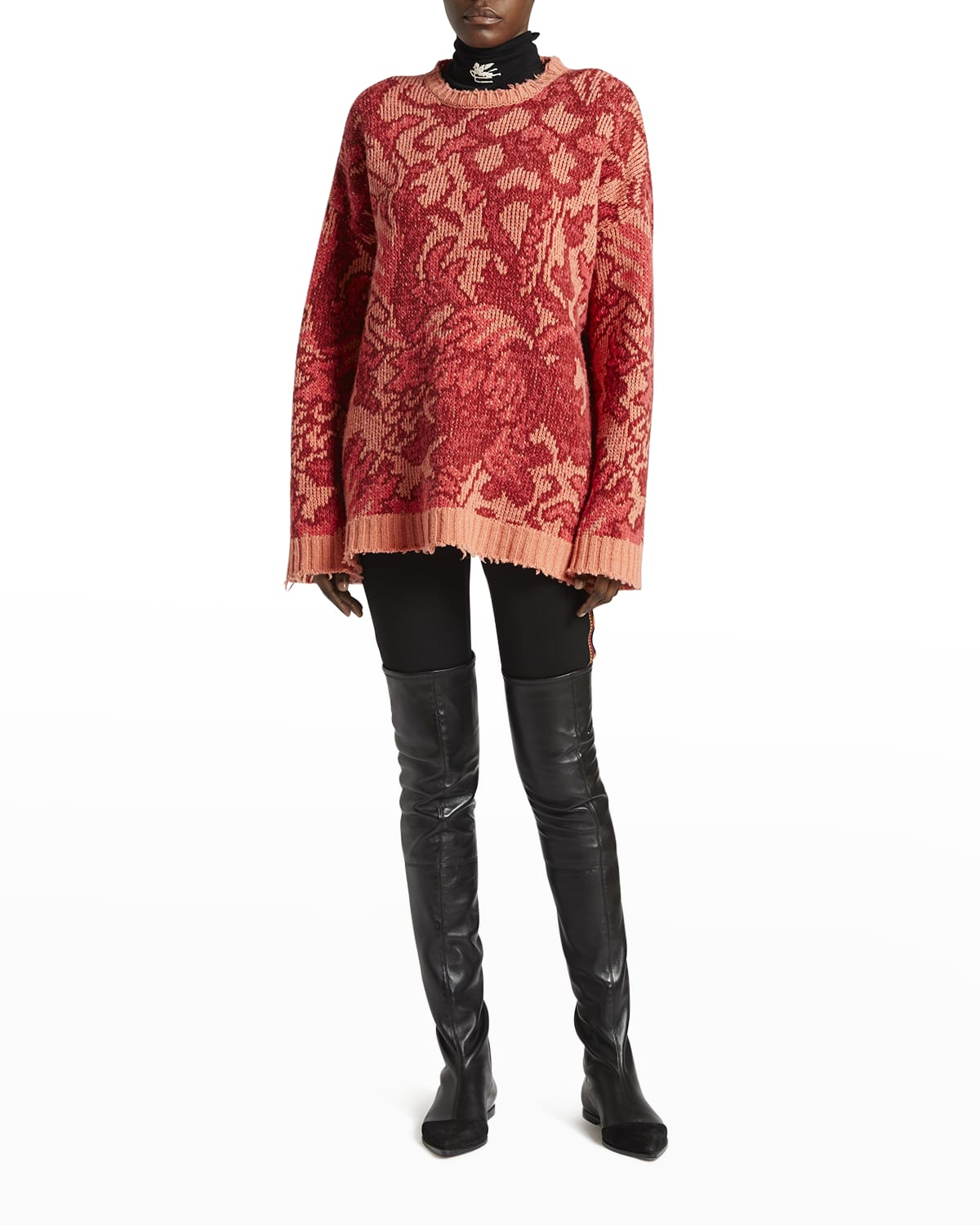 Floral-Paisley Oversized Wool Sweater