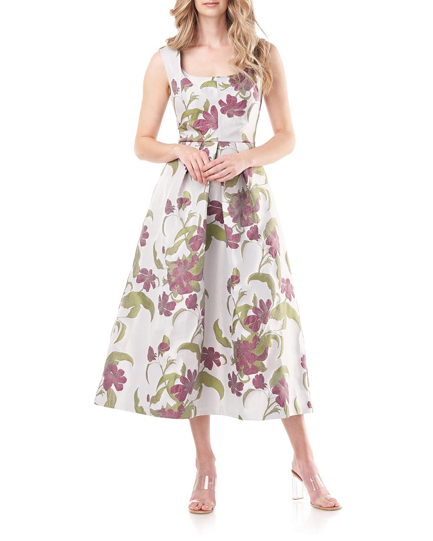 Brooke Floral Jacquard Midi Dress