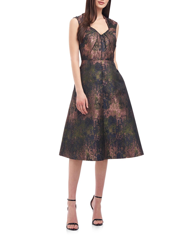 Meadow Metallic Jacquard Dress