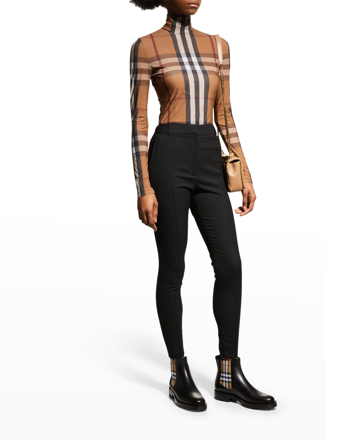 Allostock Leather Vintage Check Chelsea Booties