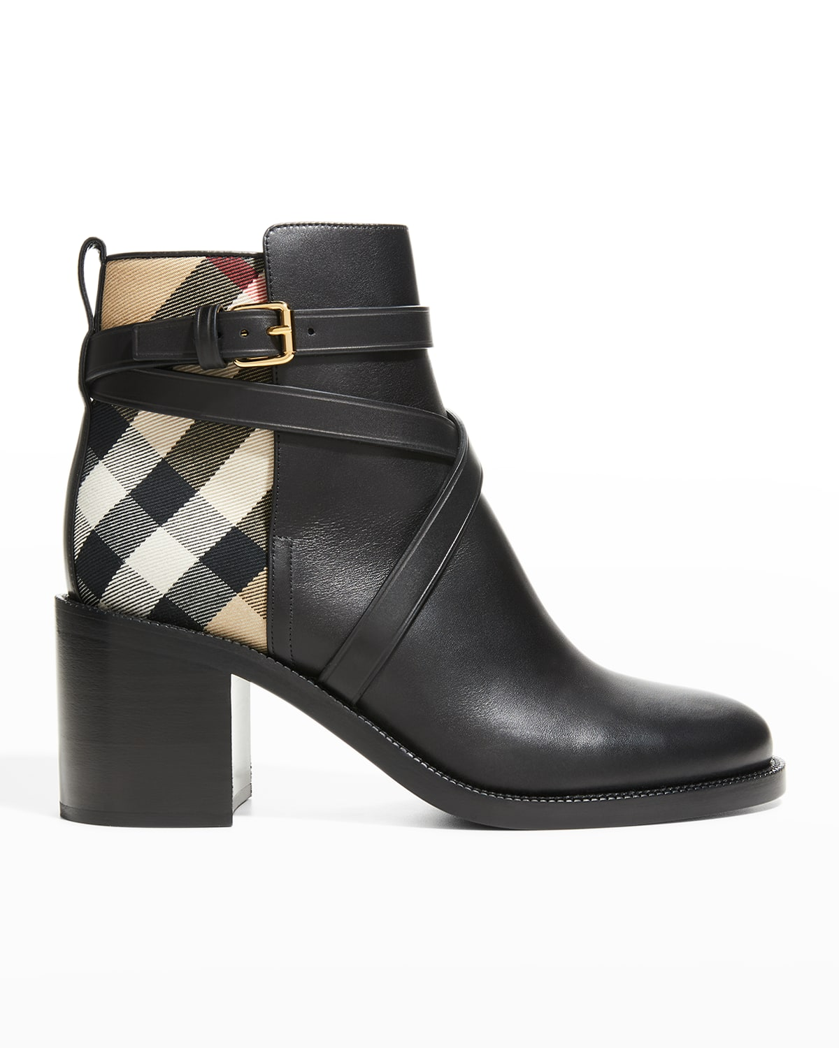 Pryle House Check Leather Ankle Booties
