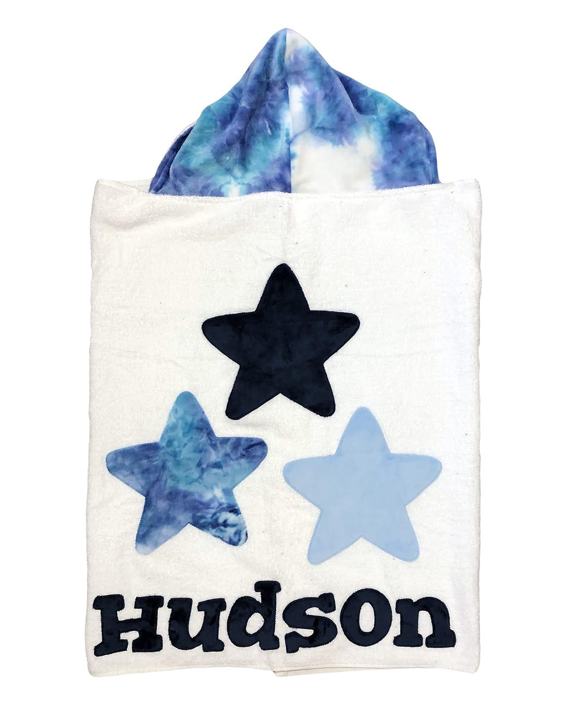 Boogie Baby Boy's Triple Stars Tie-dye Hooded Towel, Personalized
