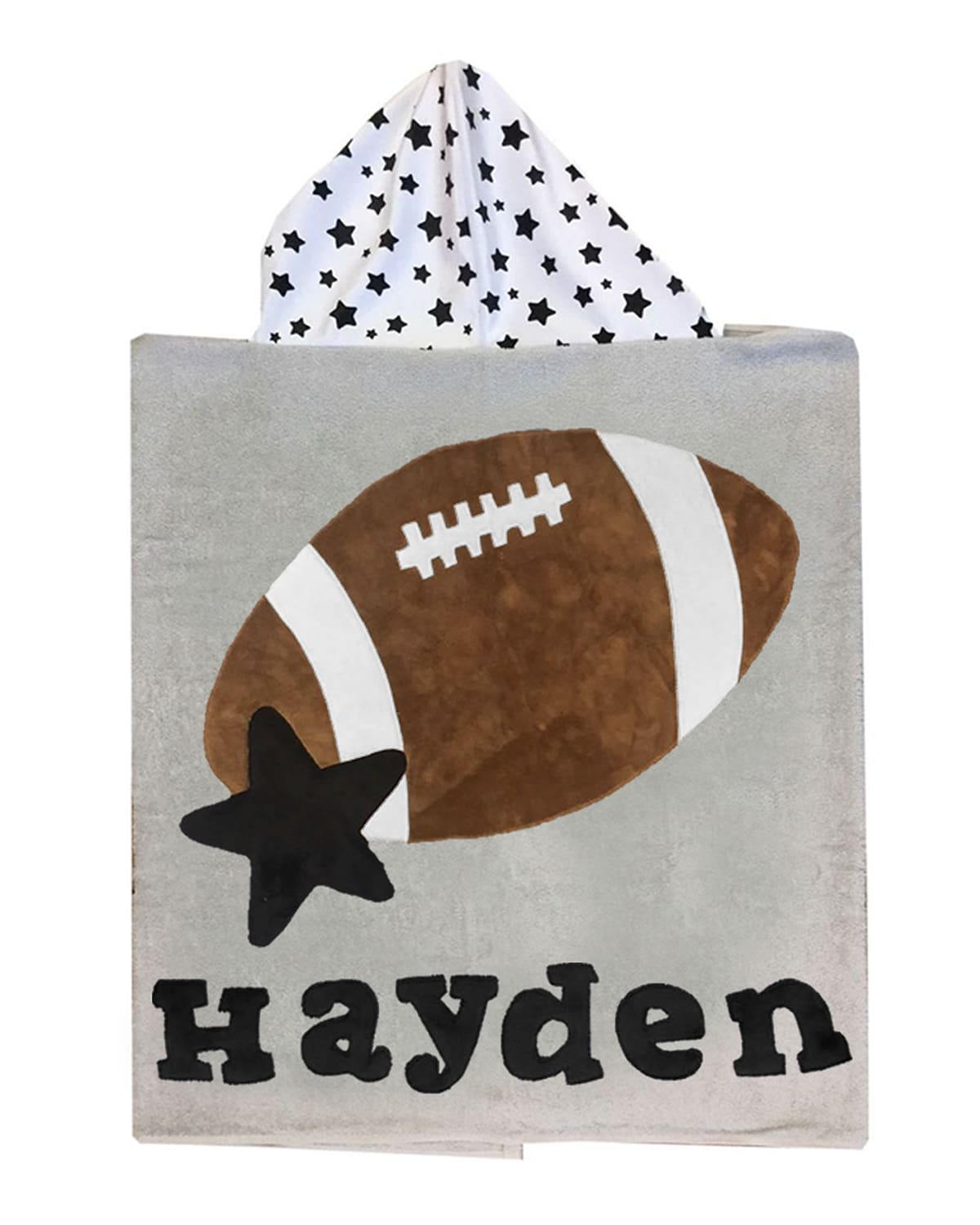 Boogie Baby Kid's Football Star-print Hooded Towel, Personalized
