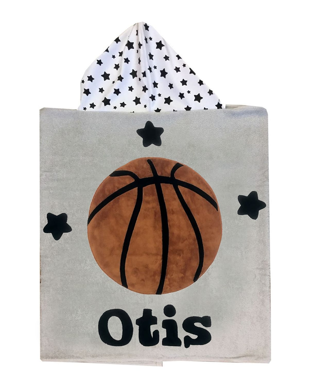 Boogie Baby Kid's Basketball Star-print Hooded Towel, Personalized