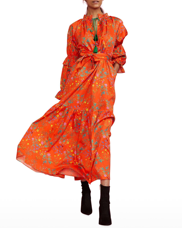 Floral-Print Tie-Neck Cotton Maxi Dress