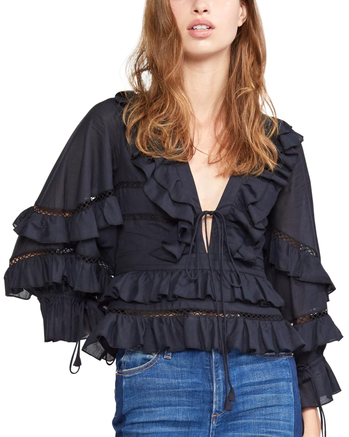 Stella Tie-Front Tiered Ruffle Top
