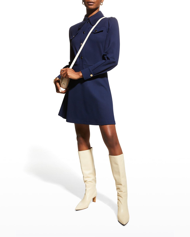 Cinched-Waist Polo Shirtdress