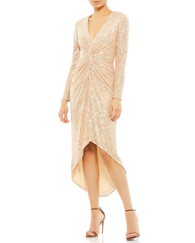 Sequin Long-Sleeve High-Low Dress