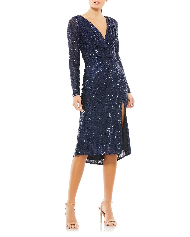 Shimmery Sequin Long-Sleeve Faux-Wrap Dress