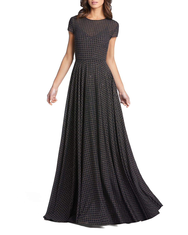 Polka Dot Cap-Sleeve A-Line Gown