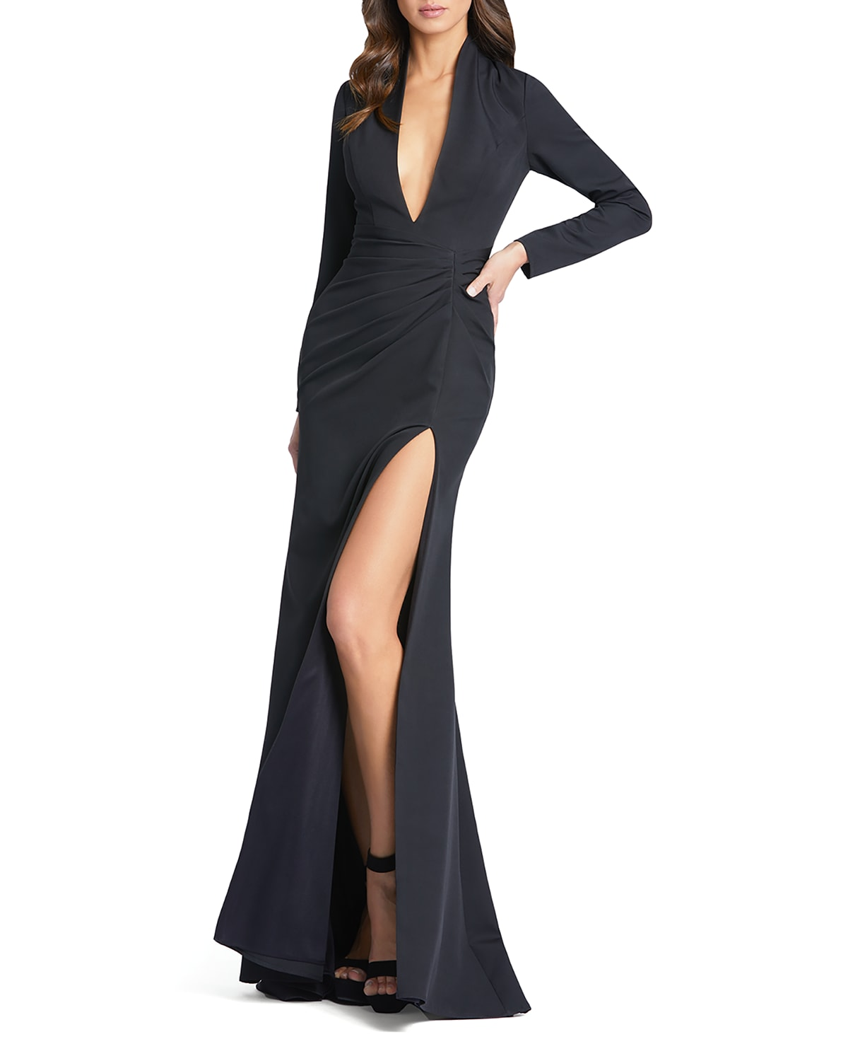 Long-Sleeve Plunging Trumpet Gown
