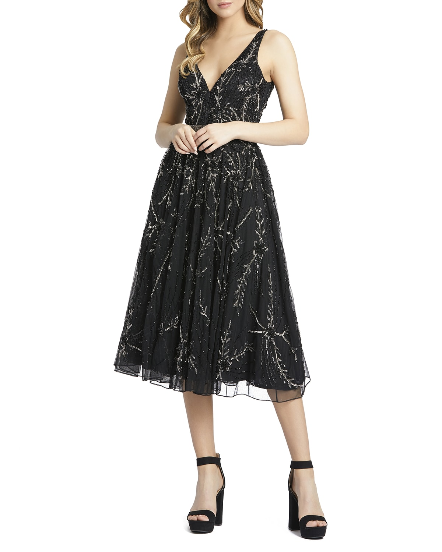 Beaded V-Neck Novelty Midi Dress