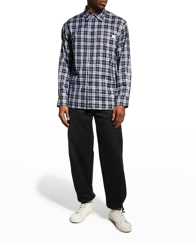 Men's Plaid Long-Sleeve Cotton Shirt