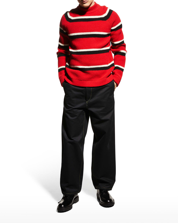 Men's Striped Wool High-Neck Sweater