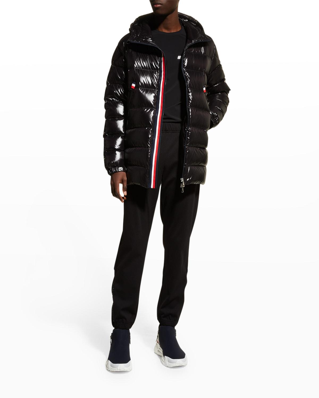 Men's Courcillon Shiny Nylon Striped Hooded Puffer Jacket