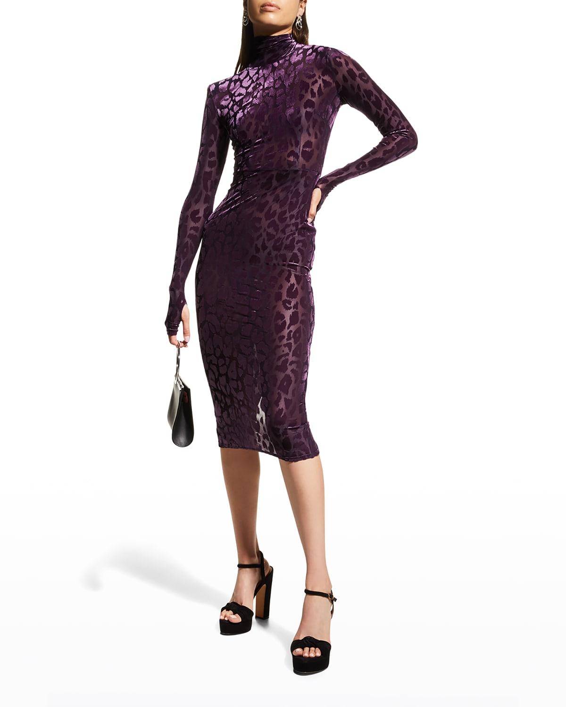 Cullen Cheetah-Print Velvet Midi Dress