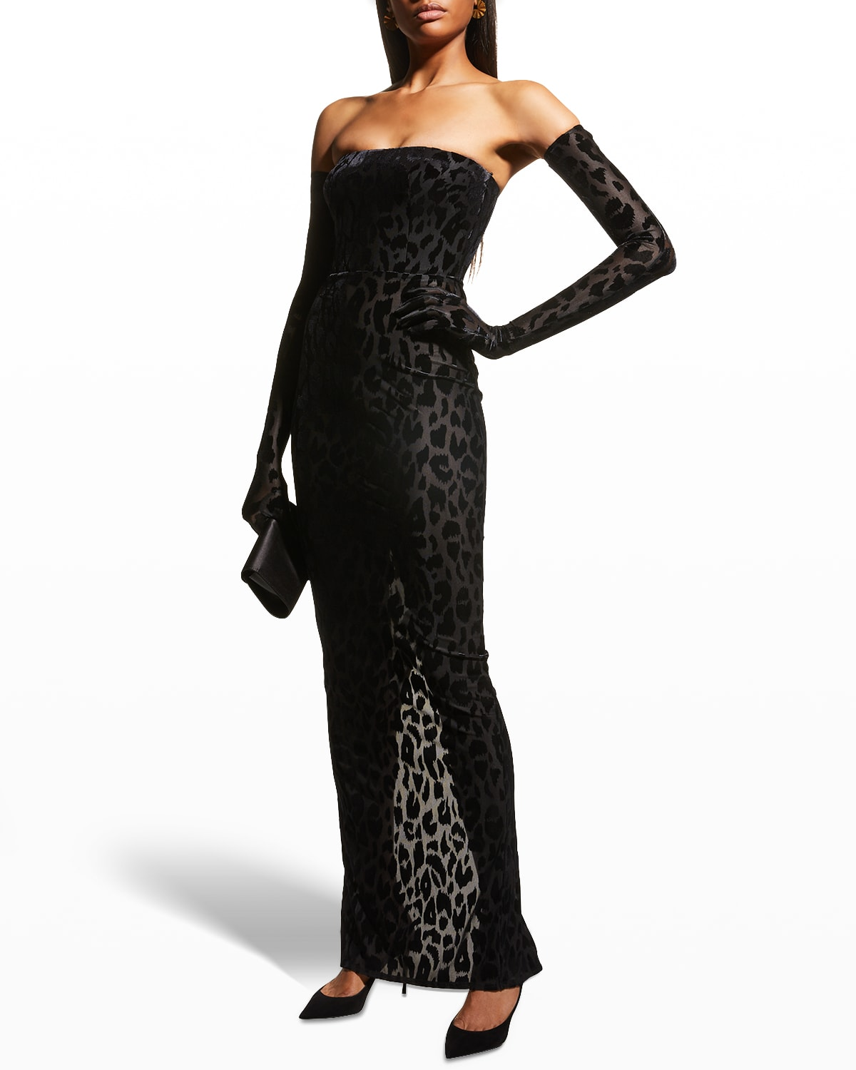 Colton Leopard Strapless Gown w/ Long Gloves