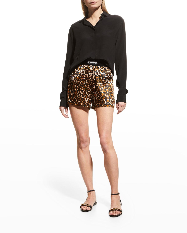 Leopard-Print Boxer Pajama Shorts