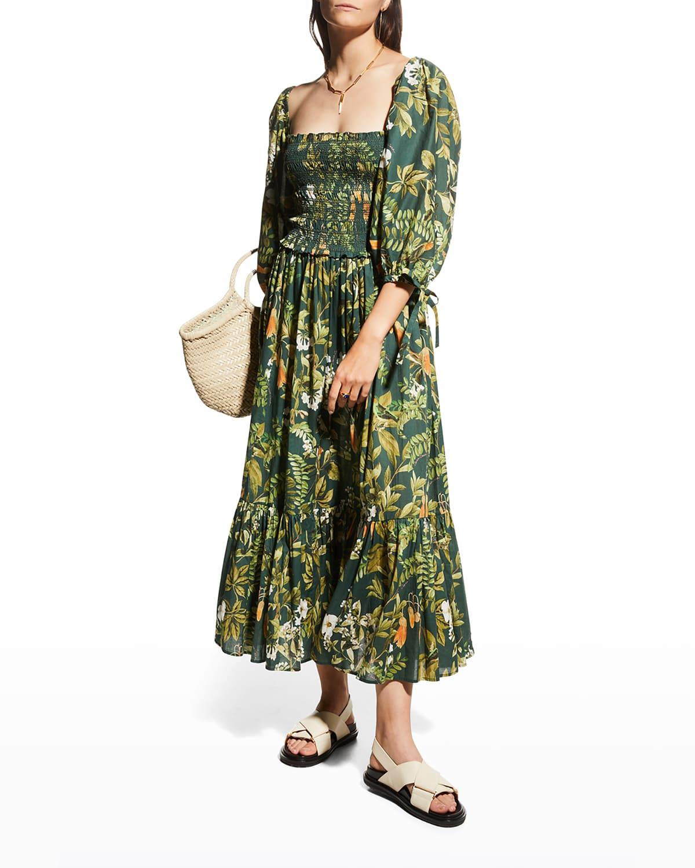 Jazzy Botanical-Print Voile Midi Dress