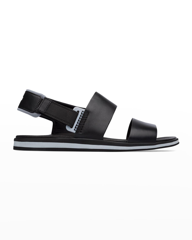 Men's Spray Leather Grip-Strap Flat Sandals
