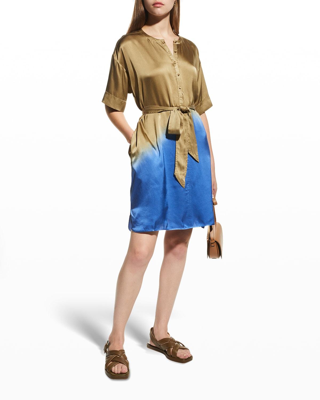 Silk Charmeuse Tie-Dye Shirtdress