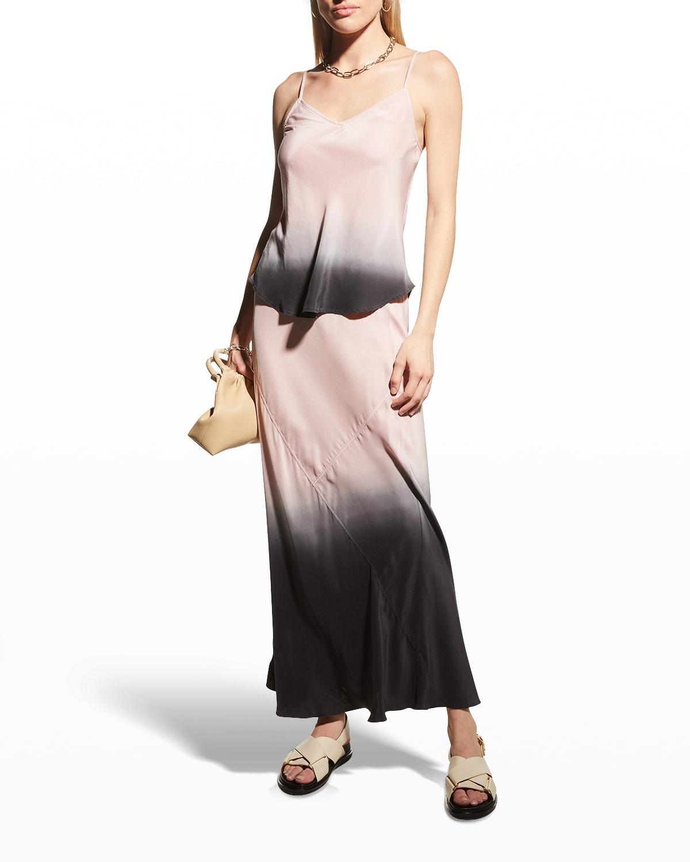 Silk Charmeuse Dip-Dye Ankle-Length Skirt