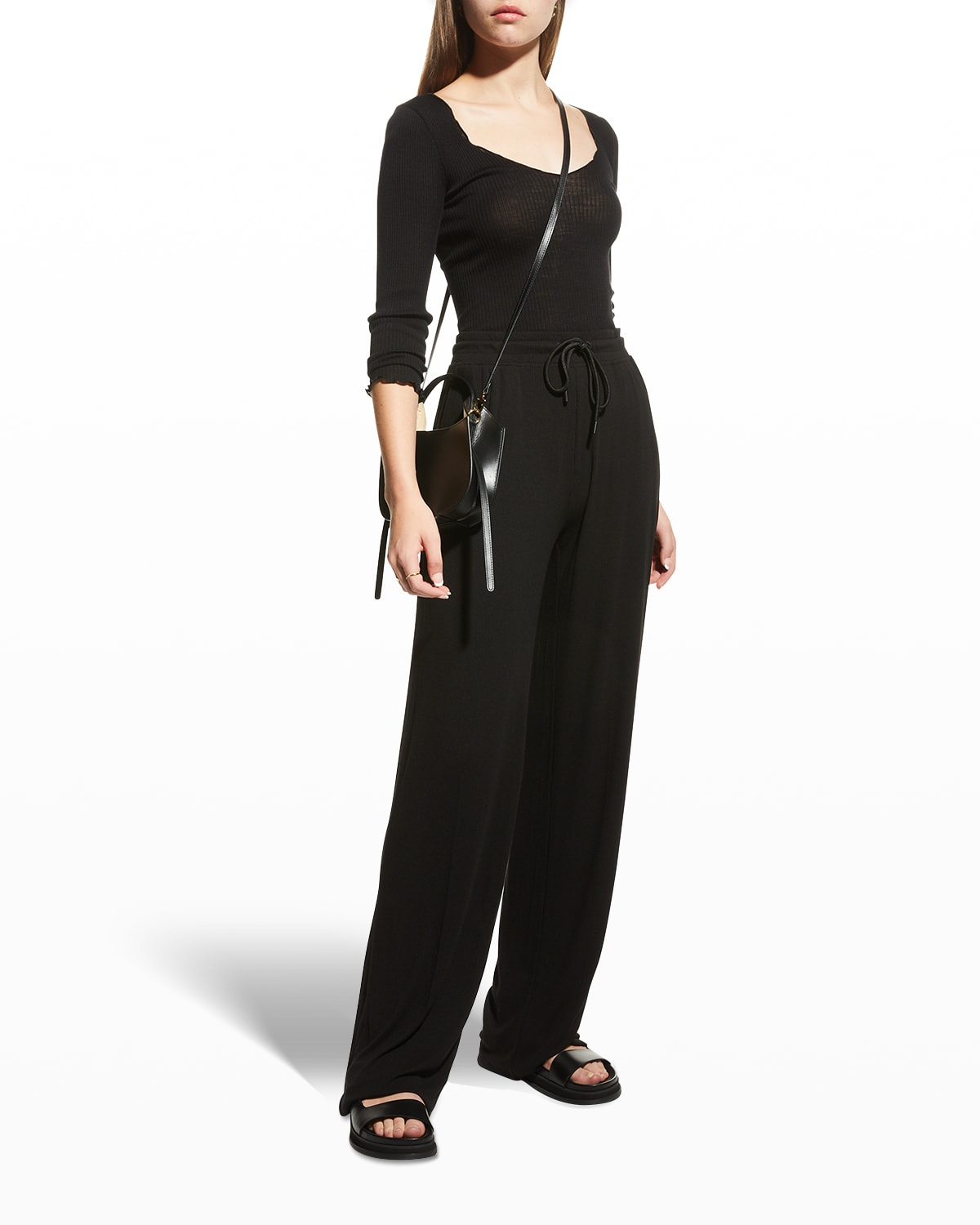 Wide-Leg Ribbed Pull-On Pants