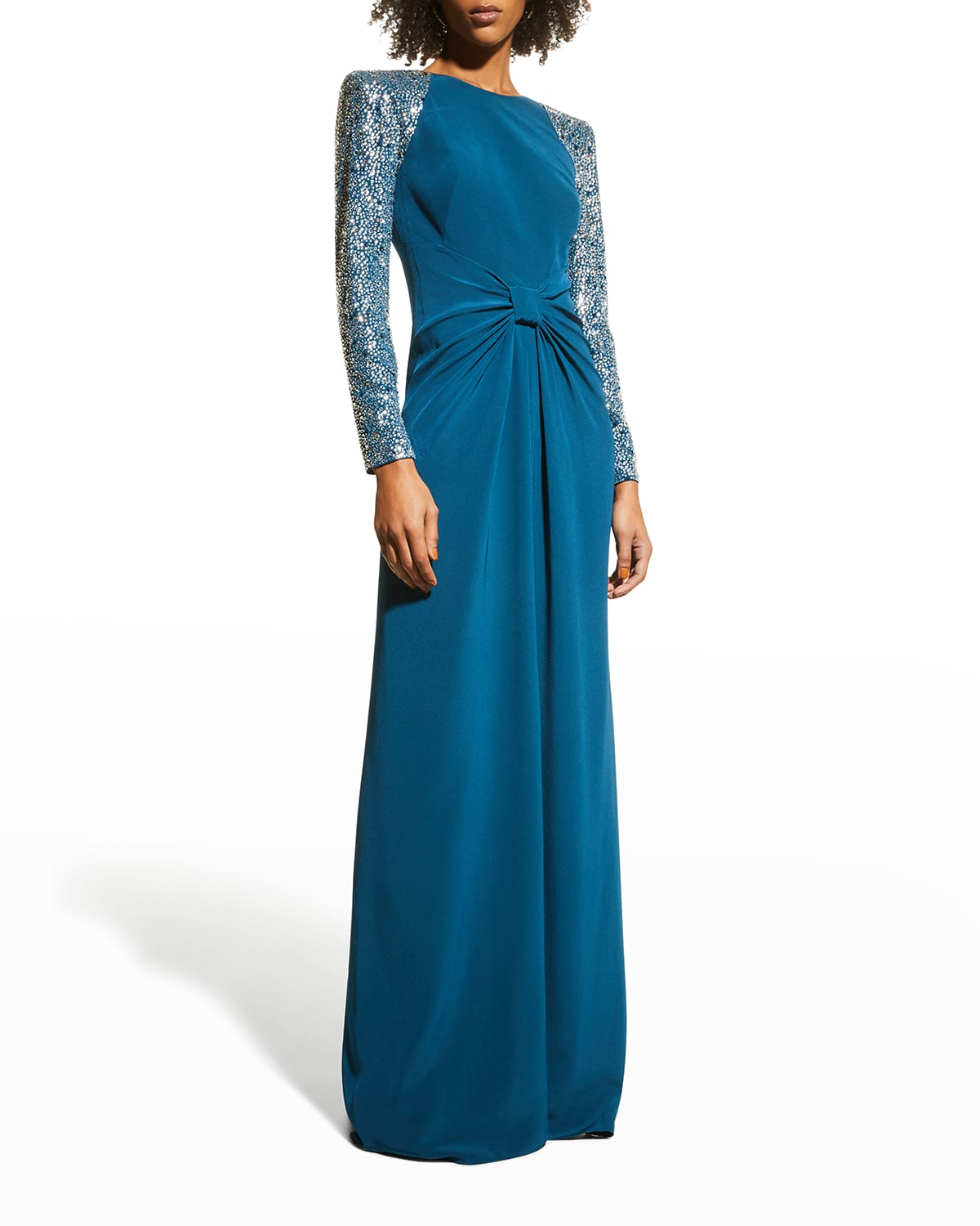 Rhinestoned Strong-Shoulder Gown