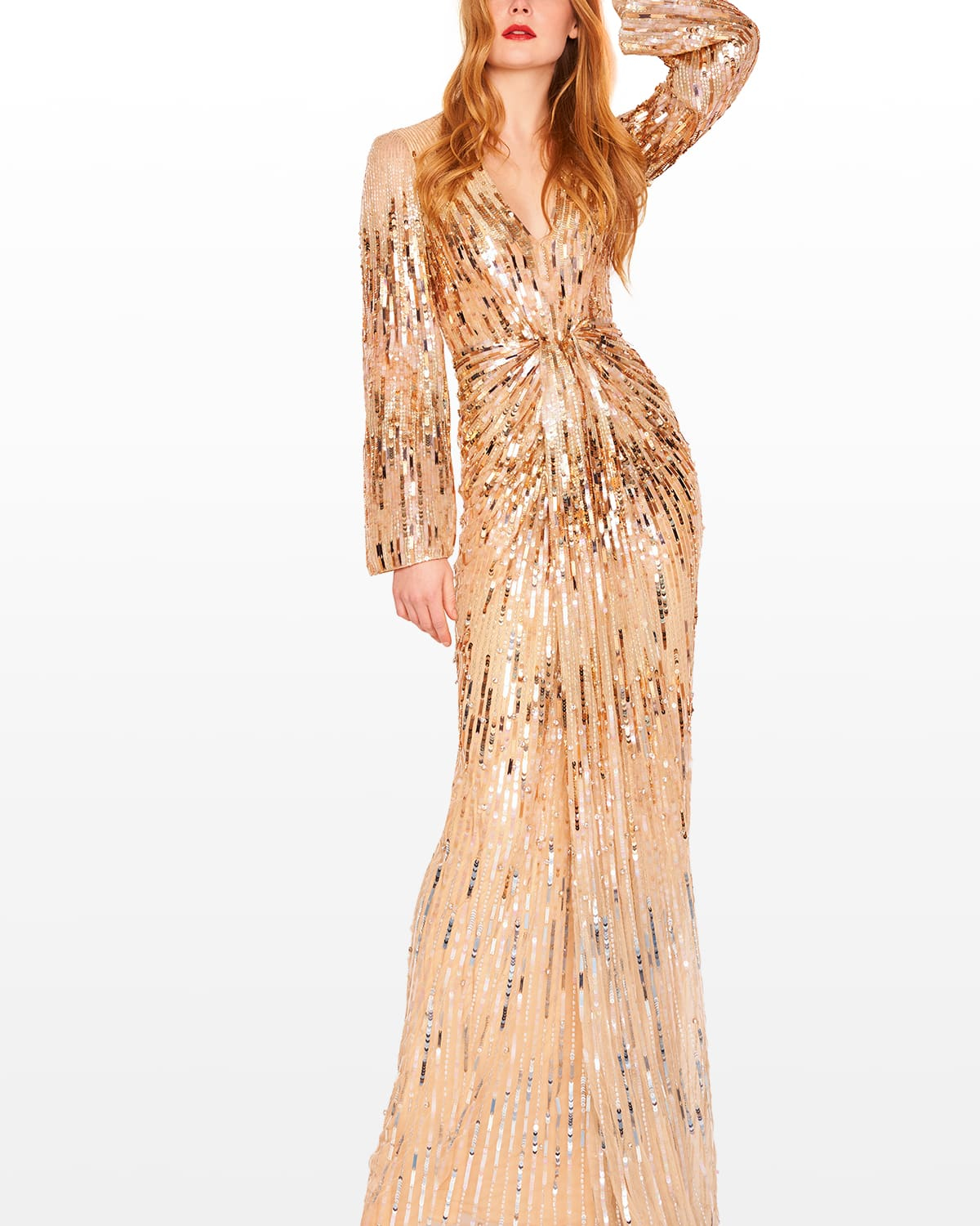 Sequin-Burst Ruched Gown