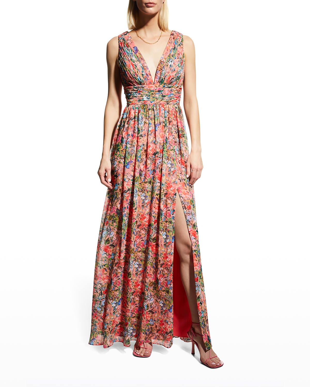 Floral-Print Deep V-Neck A-Line Gown