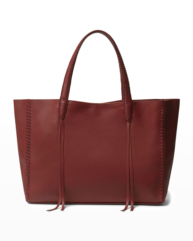 Topstitch Leather Medium Tote Bag