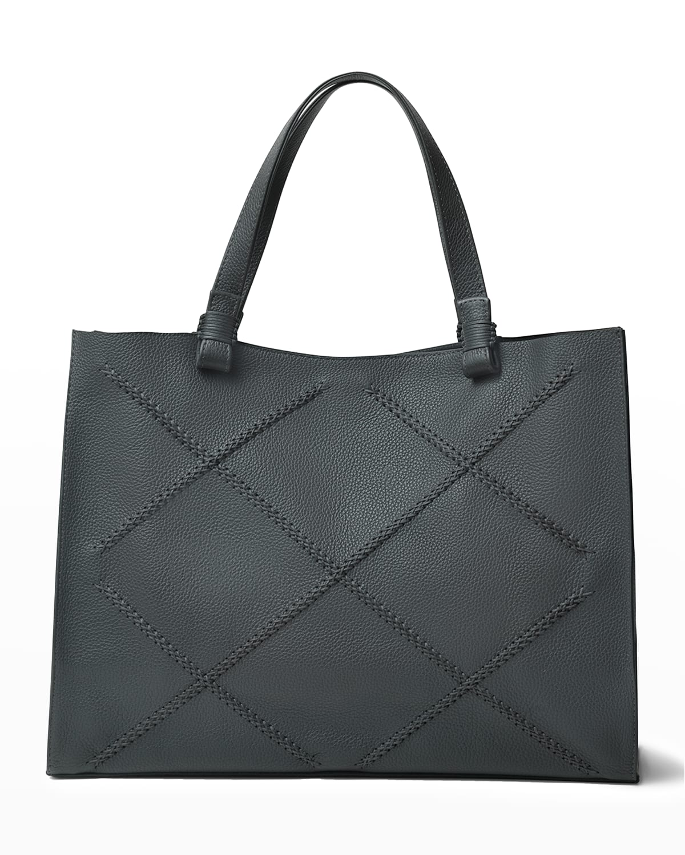 Medium Cross Topstitch Leather Tote Bag