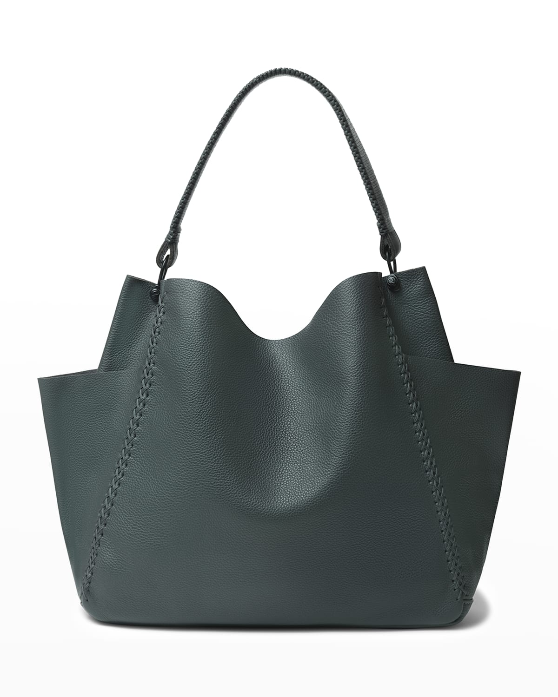 Stitch Grained Leather Shoulder Bag