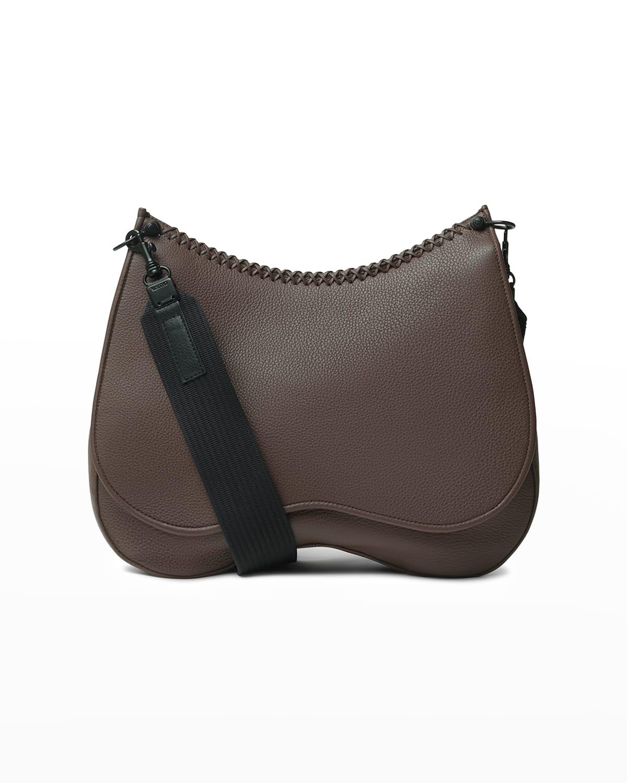 Grained Leather Saddle Crossbody Bag